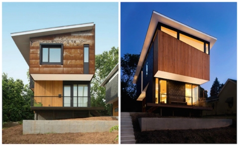 "Developed as ""fraternal twins,"" the 554 and 556 Edenton homes by Raleigh Architecture Company share a common design language, but each have their own quirks. (All images via Raleigh Architecture Company Instagram.)"