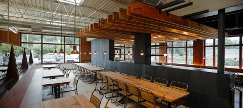 """""""The challenge,"""" Kerins said, """"was to create a design concept for the restaurant and bar that is reinforced by our selection of authentic and natural materials and honest detailing."""""""
